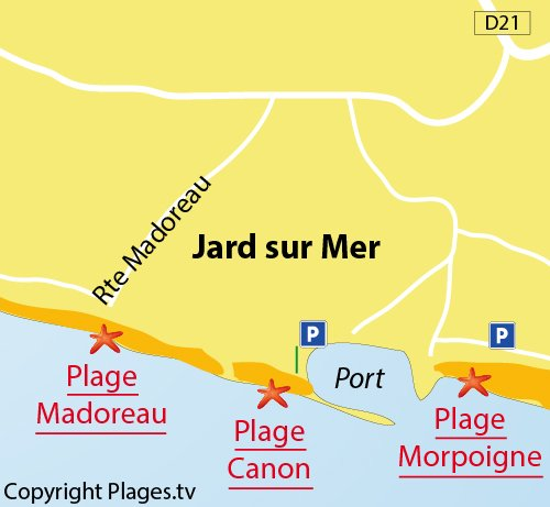 Plan de la plage du Canon à Jard sur Mer