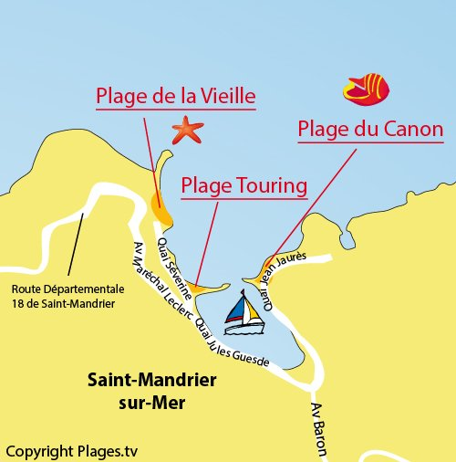 Map of Canon Beach in Saint Mandrier