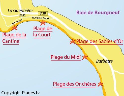 Map of the Canteen Beach in la Guérinière - Noirmoutier