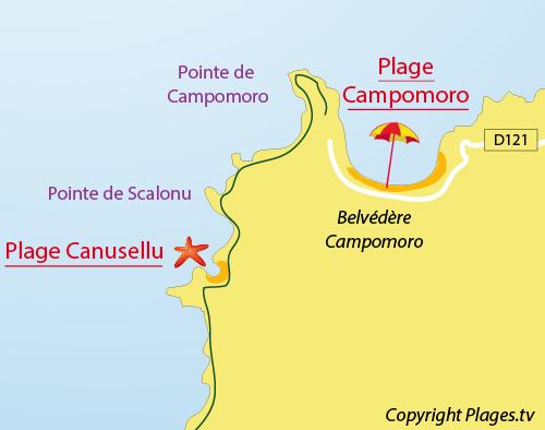 Mappa della Spiaggia di Canusellu a Campomoro
