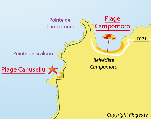 Map of Canusellu Beach in Campomoro