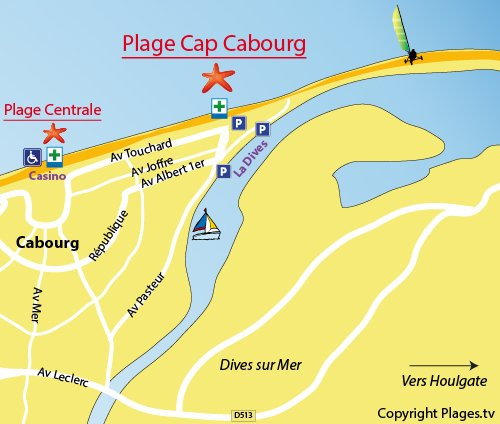 Map of the Cap Cabourg Beach in France