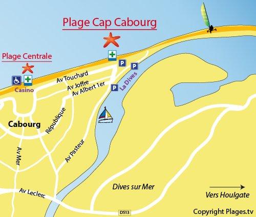 Carte de la plage de Cap Cabourg