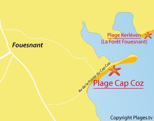 Carte de la plage du Cap Coz à Fouesnant - Bretagne