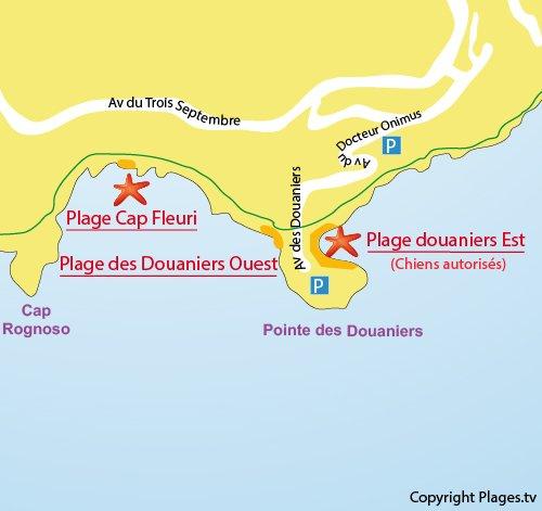 Carte de la plage du Cap Fleuri - Cap d'Ail
