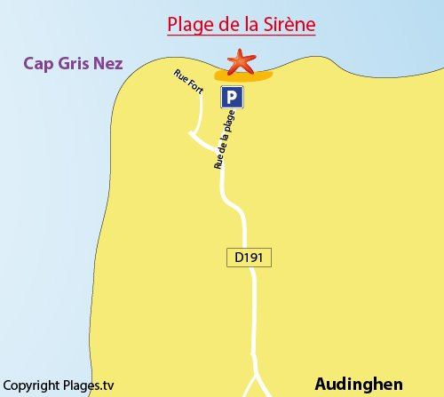 Map of the beach of Cap Gris Nez in France