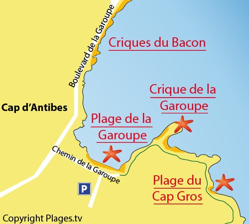 Map of Cap Gros Beach in Cap d'Antibes
