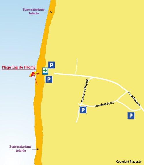 Plan de la plage du Cap de l'Homy à Lit et Mixe