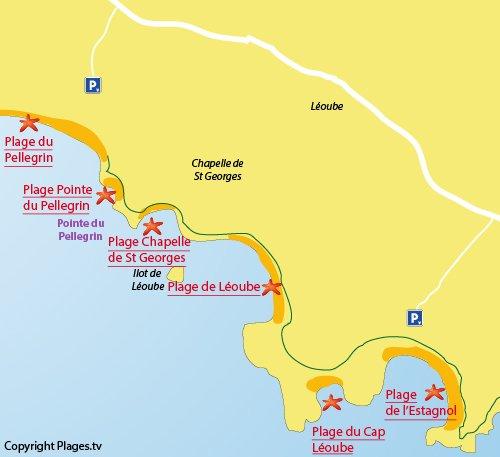 Mappa della Spiaggia di Cap Léoube di Bormes les Mimosas