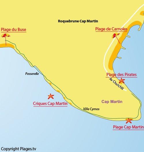 Map of Cap Martin Beach - Roquebrune Cap Martin