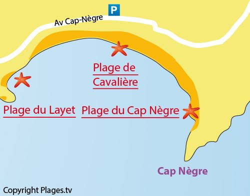 Map of the Cape Negre Beach in Lavandou