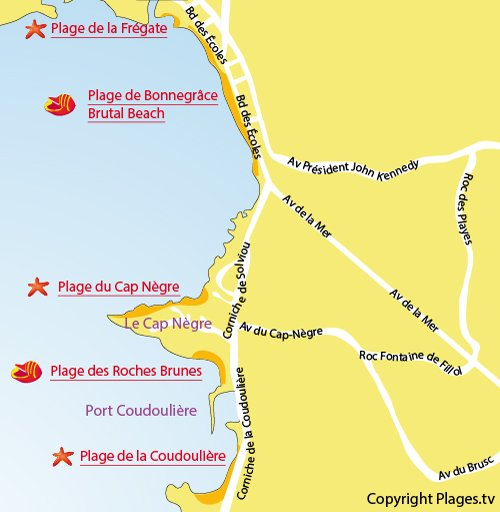 Map of Cape Nègre Coves in Six Fours les Plages