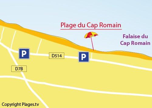 Plan de la plage du Cap Romain à Bernières sur Mer