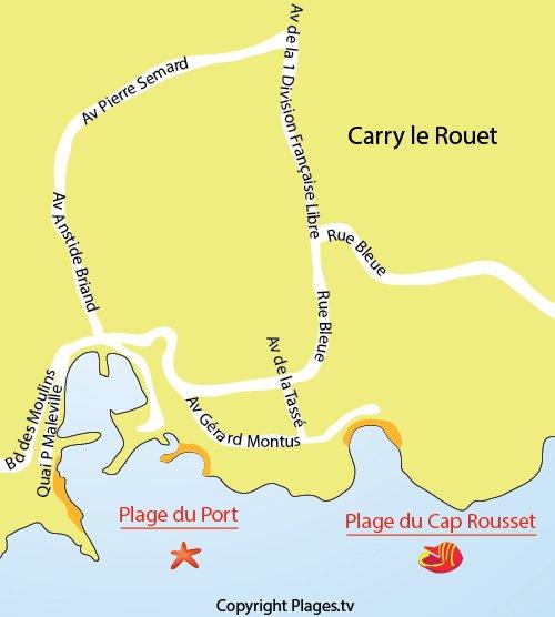 Plan de la plage du Cap Rousset à Carry le Rouet