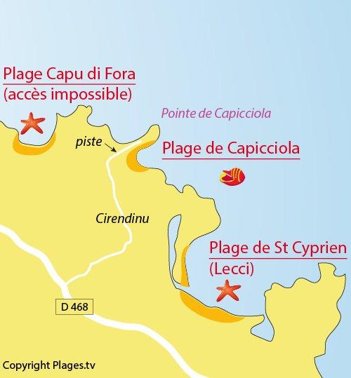 Carte de la plage de Capicciola à Sainte Lucie de Porto Vecchio