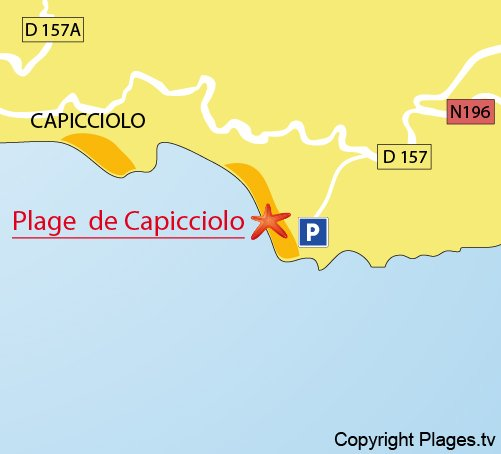 Plan de la plage de Campitellu à Olmeto