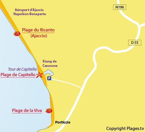 Map of Capitello Beach in Porticcio