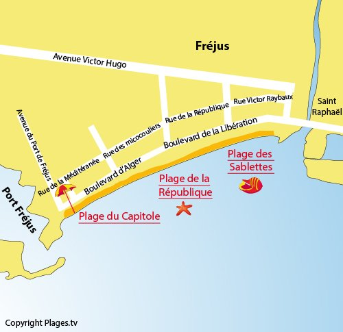 Map of Capitol Beach in Fréjus