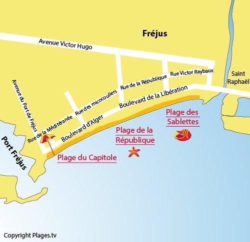 Carte de la plage du Capitole à Fréjus