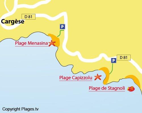 Carte de la plage de Capizzolu à Cargèse