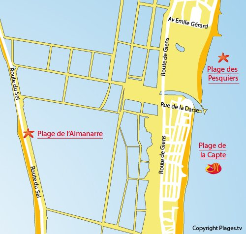 Map of Capte Beach in Hyères