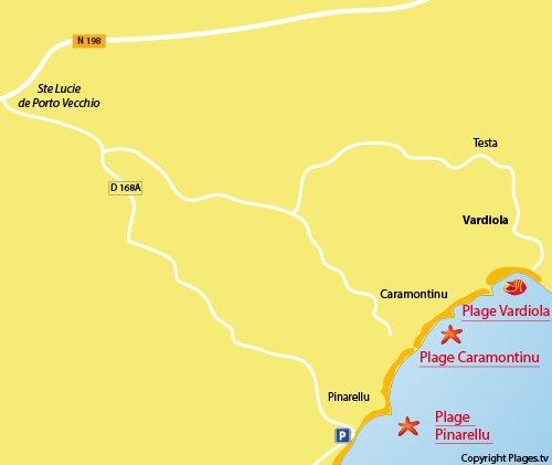 Carte de la plage de Caramontinu en Corse