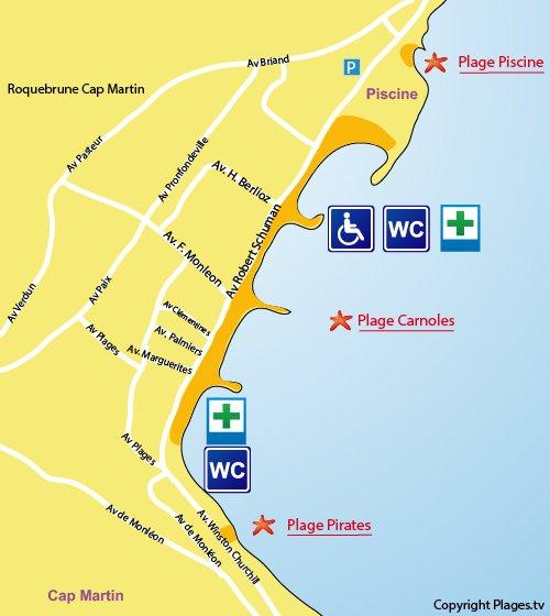 Map of Carnoles Beach in Roquebrune Cap Martin