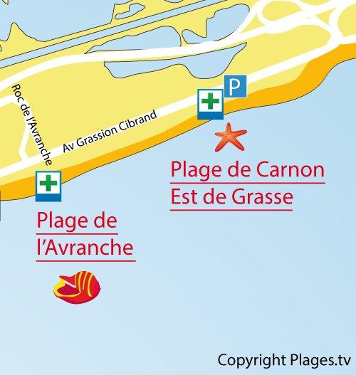 Map of Est Beach in Carnon