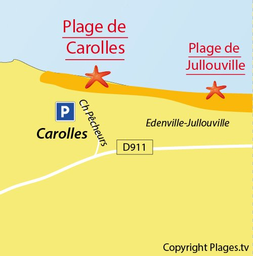 Map of Carolles beach in France (Normandy)