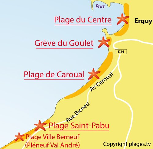 Map of Caroual Beach in Erquy
