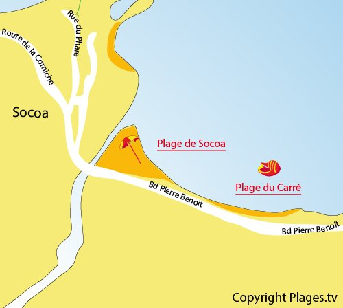 Map of Carré Beach in Socoa (Ciboure)