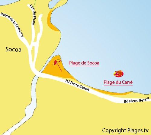 Mappa della Spiaggia del Carré a Socoa (Ciboure)