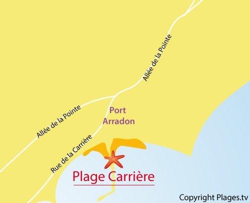 Carte de la plage de la Carrière à Arradon