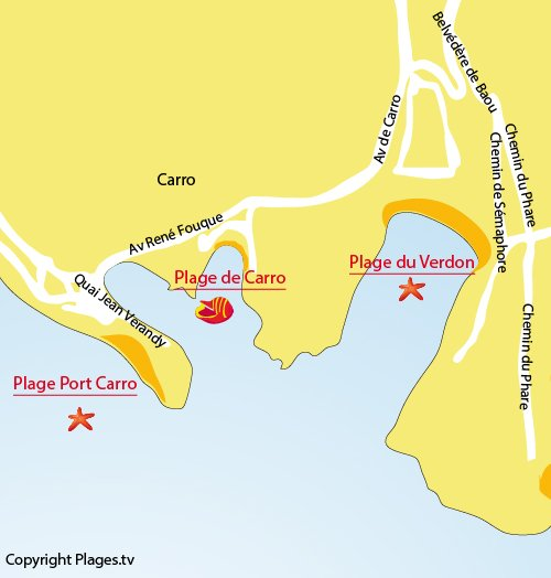 Map of Carro Beach in La Couronne - Martigues