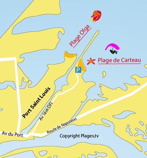 Plan de la plage de Carteau de Port St Louis