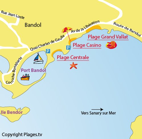 Map of the Casino beach in Bandol