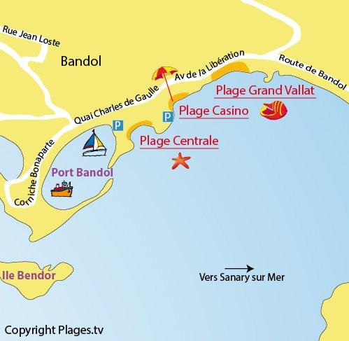 Carte de la plage du Casino à Bandol