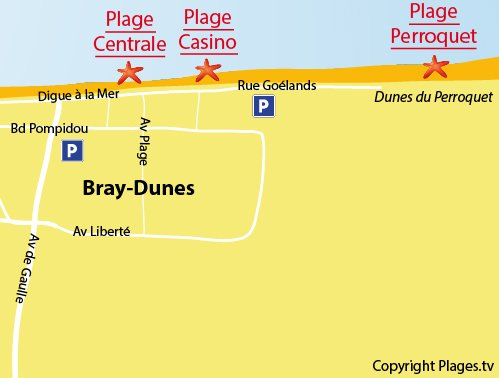 Map of the Casino Beach in Bray-Dunes in France