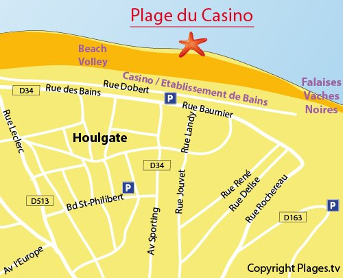 Carte de la plage du Casino à Houlgate
