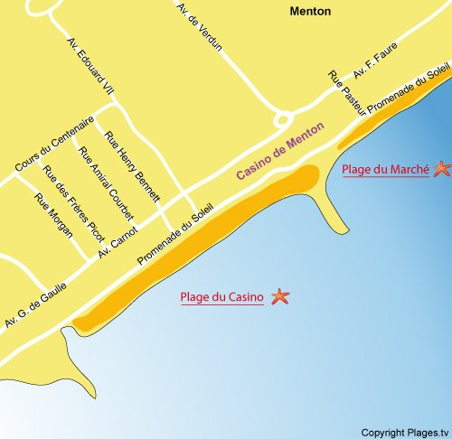 Map of Casino beach in Menton