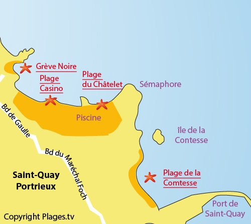 Map of Casino Beach in St Quay Portrieux in Brittany