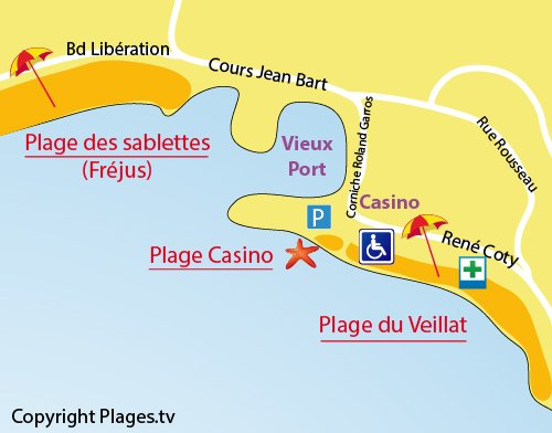 Map of Casino Beach in St Raphael