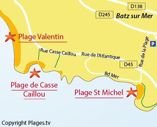 Carte de la plage de Casse Caillou à Batz sur Mer