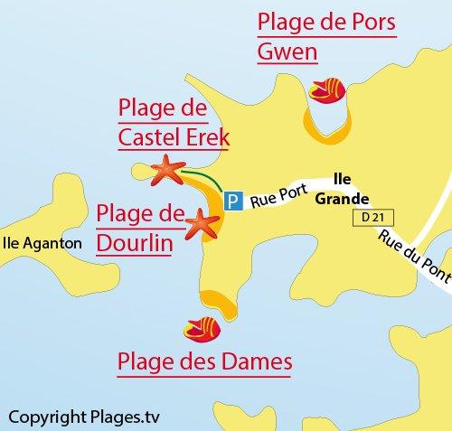 Carte de la plage de Castel Erek de Pleumeur Bodou