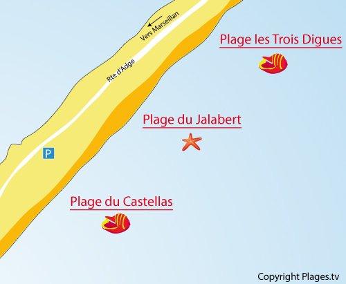 Carte de la plage du Castellas à Sète