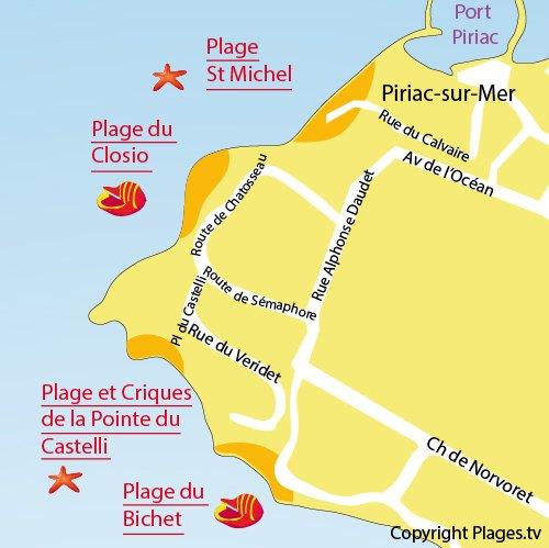 Map of Castelli Beach in Piriac