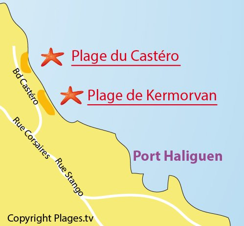 Carte de la plage du Castéro à Quiberon