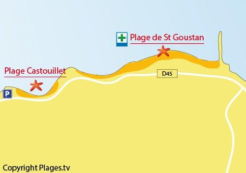 Carte de la plage dans la baie du Castouillet - Le Croisic
