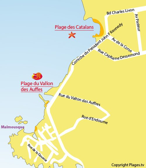 Map of Catalans Beach in Marseille
