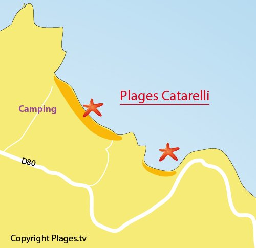 Map of Catarelli Beach in Farinole